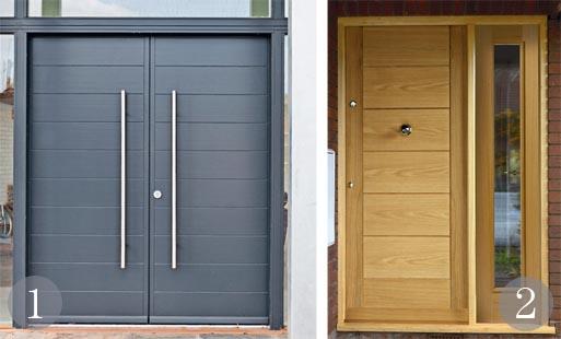 Contemporary entrance door in Anthracite Grey; Exterior door in oak veneer