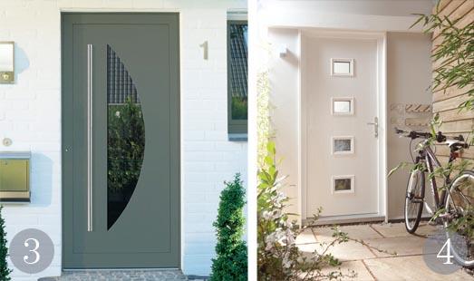 Bespoke entrance door in green/grey; Composite door set in white