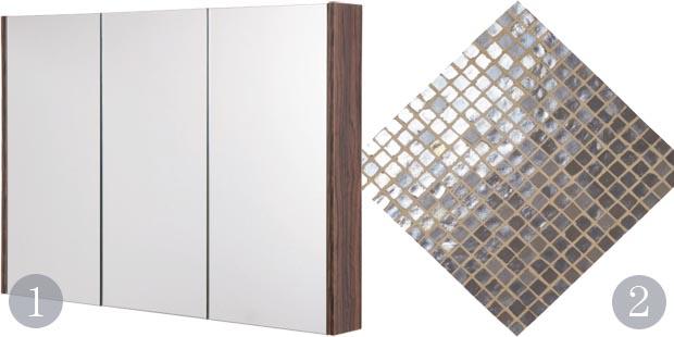 Aspen Three Door MDF Mirror Cabinet In Walnut Neutrals Graphite Lustre Glass Mosaic Tiles