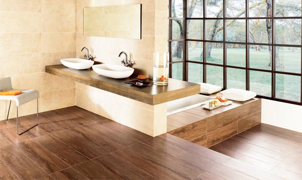 How to choose bathroom flooring real homes for Wood effect vinyl flooring bathroom
