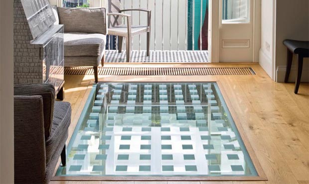 glass floor tiles. Glass Floor With Square-cut Frosted Design Tiles