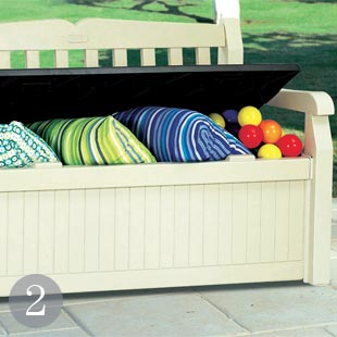 Wood-effect plastic storage bench