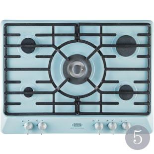Five-burner gas hob in Duck Egg Blue