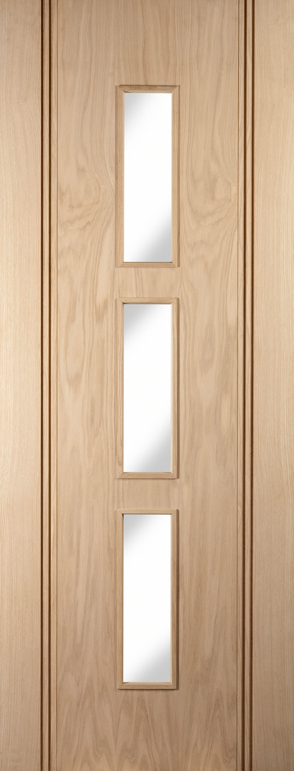 Made From American White Oak Veneer With Stylish Vertical Grooves And Glazed Panels The Stanton Clear Door Jeld Wen Suits Both Modern Older