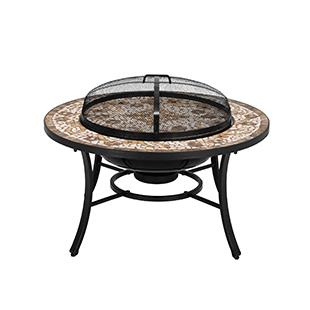 verona, firepit, fire, table, stone, mosaic, inlay, garden, alfresco, outdoors