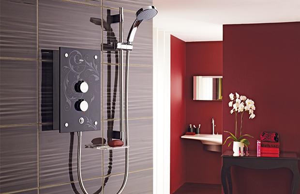 shower, pressure, bathroom, galena, mira, sensi-flo, glass, flock-patterned