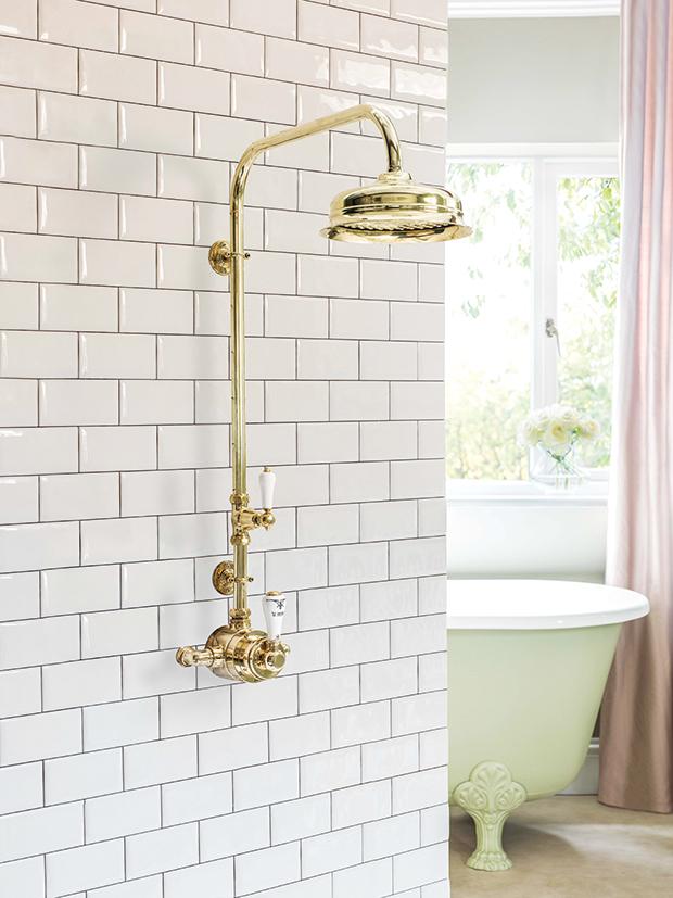 bathroom, shower, brass, exposed, bathroom