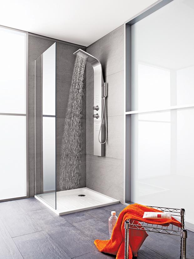 shower, bathroom, essential hydromassage, column, roca