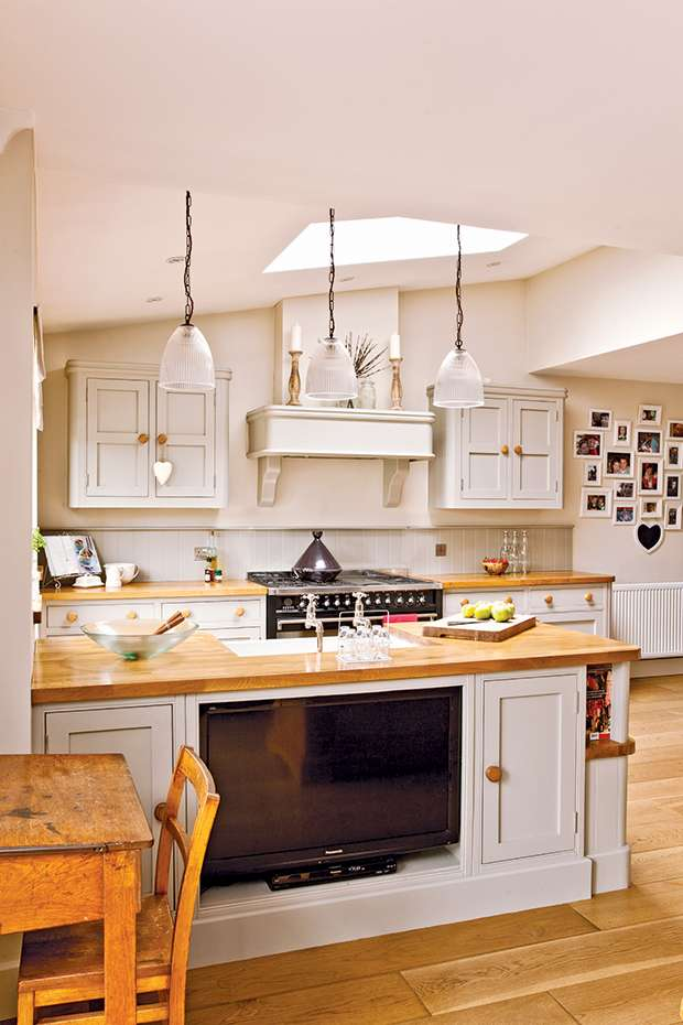 Kitchen island with television