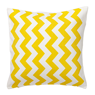 Yellow chevron cotton cushion cover from Hema