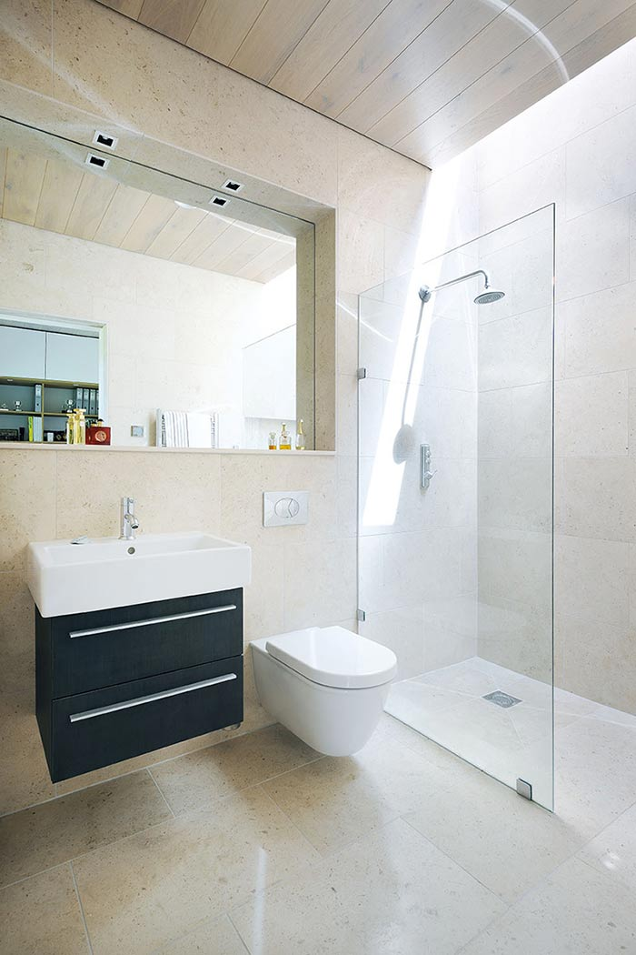 bathroom in a comtemporary mobile home