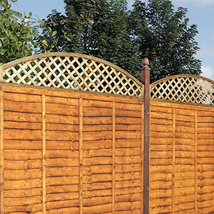 Convex timber trellis fence topper