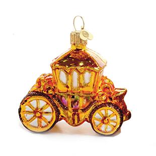 Little golden coach glass bauble from Bombki