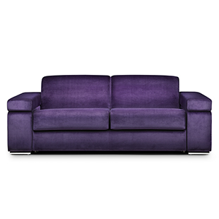 London medium three-seater sofa bed in Linwood Omega velvet in Grape froom The Sofa Bed Company