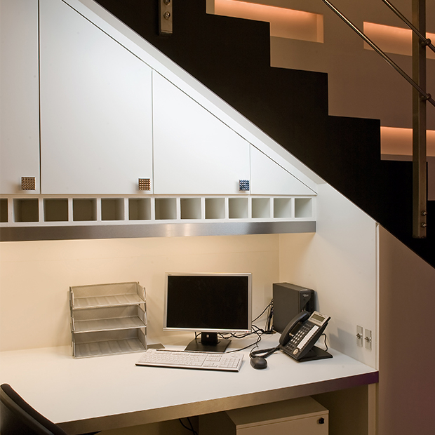 LED contour strip and eyelid under-cupboard lights from John Cullen Lighting