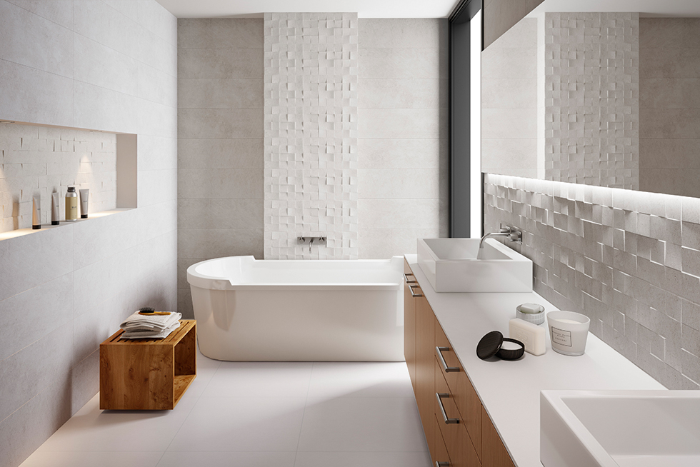 Zenith ceramic grey check tiles