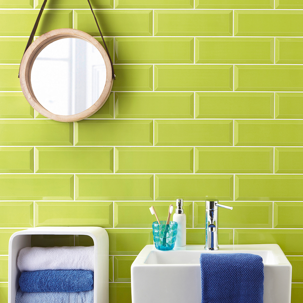 Metro wall tiles in lime green from Tile Mountain