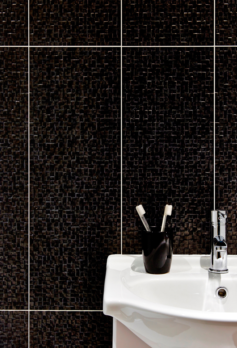 Perla black satin mosaic ceramic wall tiles from Tile Mountain