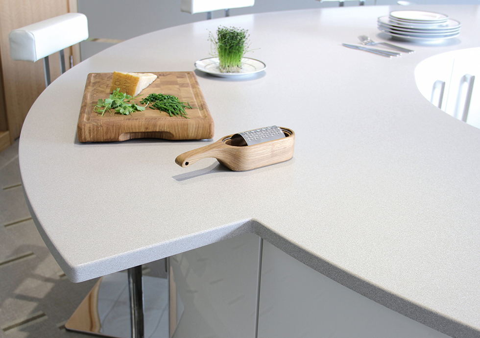 Mistral solid enhanced mineral acrylic worktop from Karonia