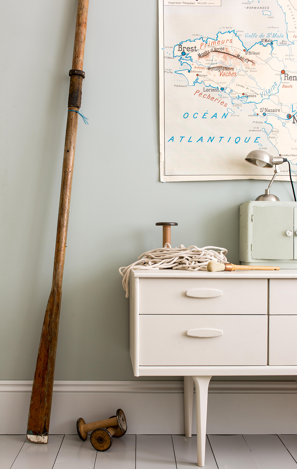 Light Blue and Lamp Room Grey paints from Farrow & Ball