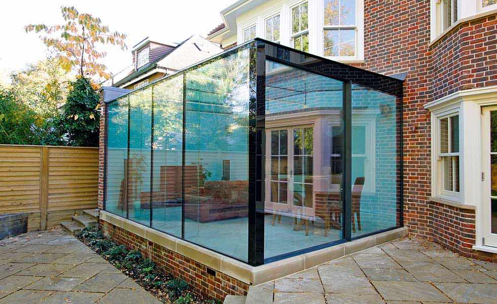 blue tinted glass extension