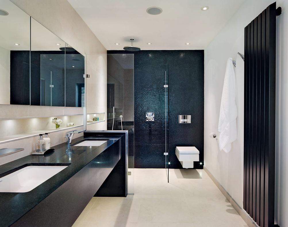 Open plan ensuite bathroom ideas - Redhill Monochrome En Suite Bathroom