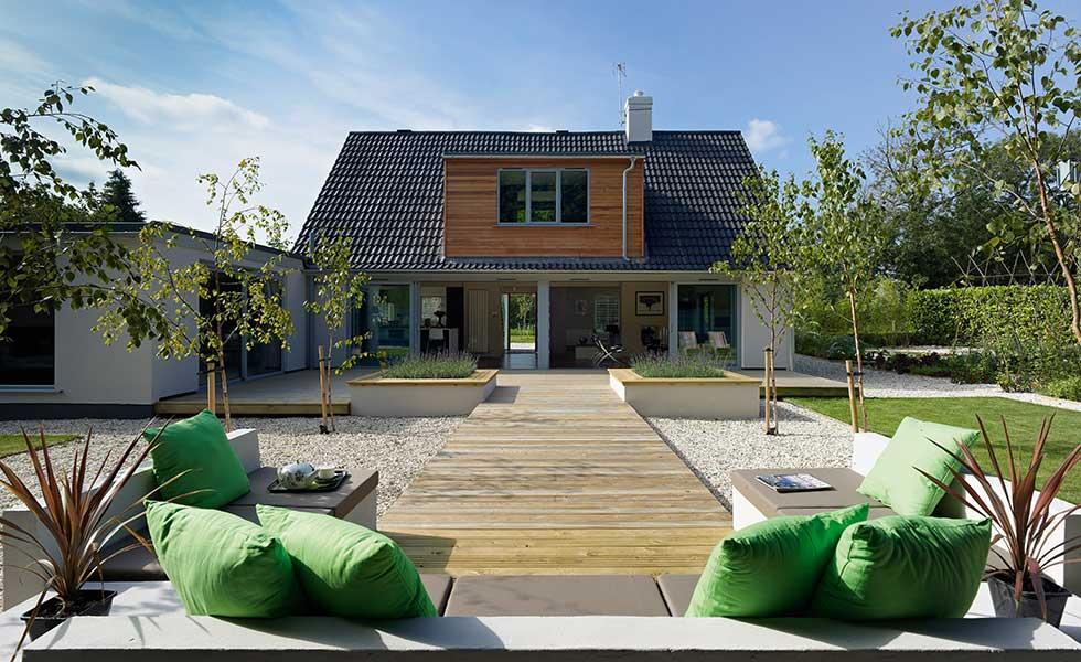 bi folding doors to a garden on a dormer bungalow