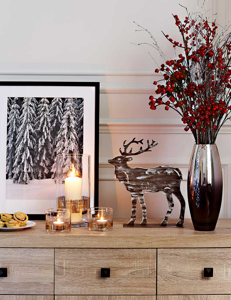 Create a hallway display with a selection of metallic pieces, all from Tesco.