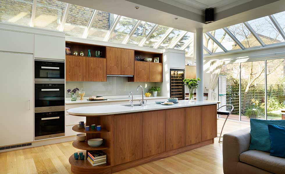 Woodstock kitchen diner with glazed roof extension and American black walnut units