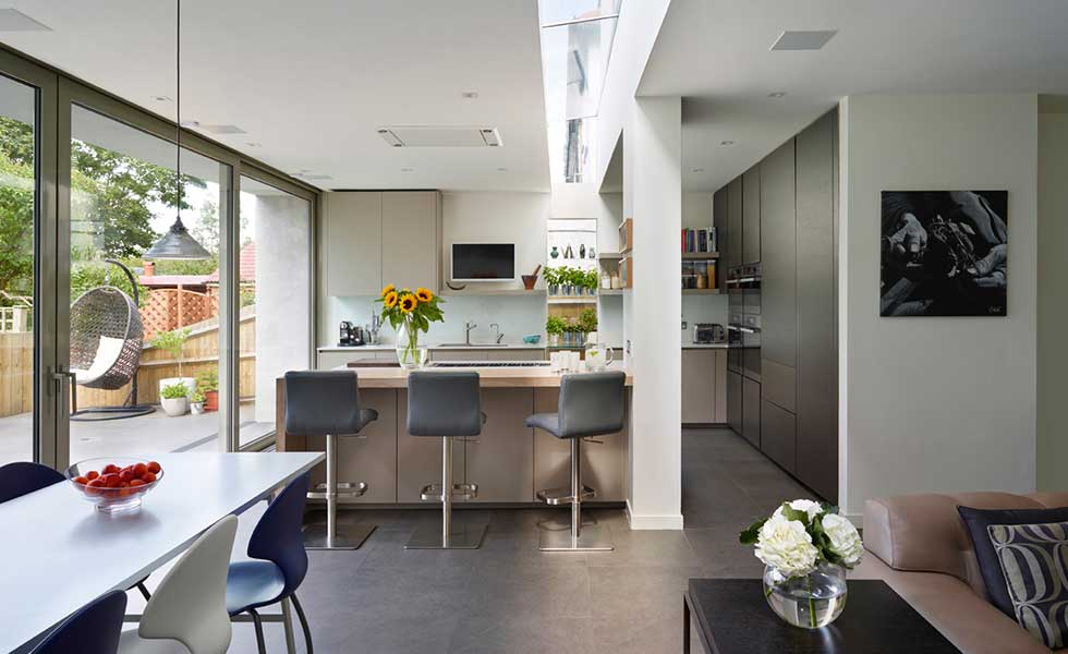 Kitchen Diner With A Grey And Neutral Colour Scheme Roof Lights