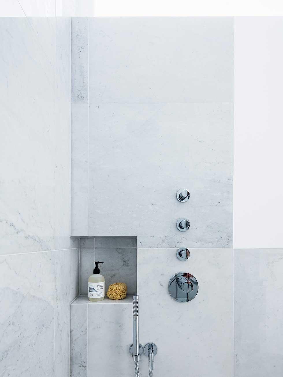 london flat marble shower storage shelf