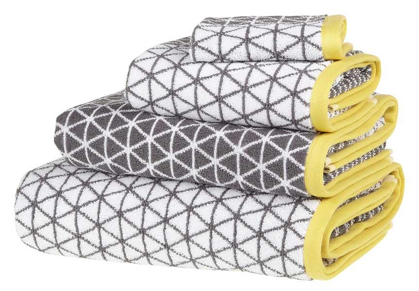 isometric towels in steel and dandelion