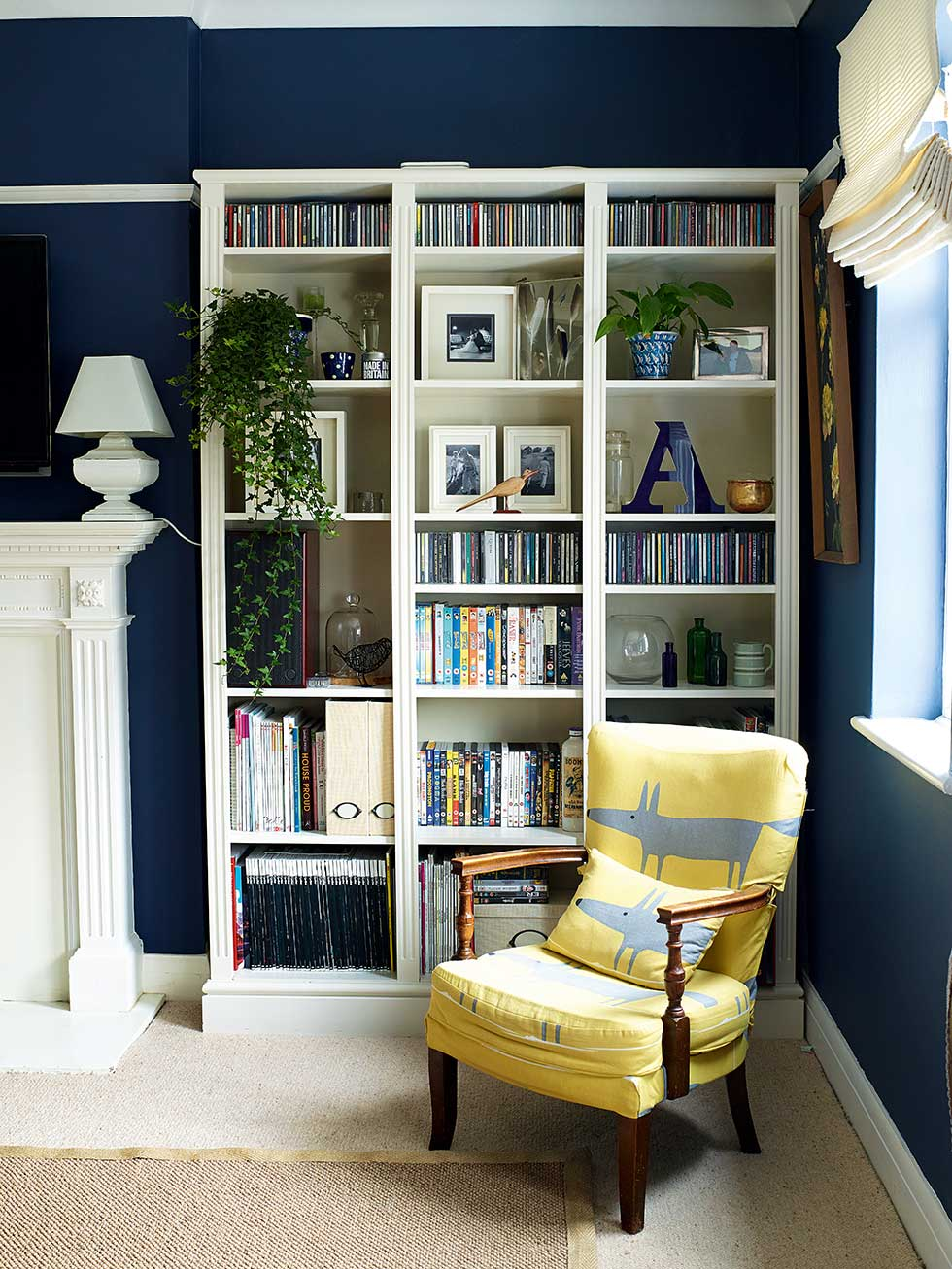 dark blue living room. navy blue living room with white storage Stylish makeover  Real Homes