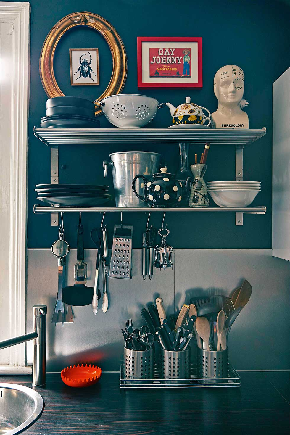Duplex apartment kitchen utensils on shelves