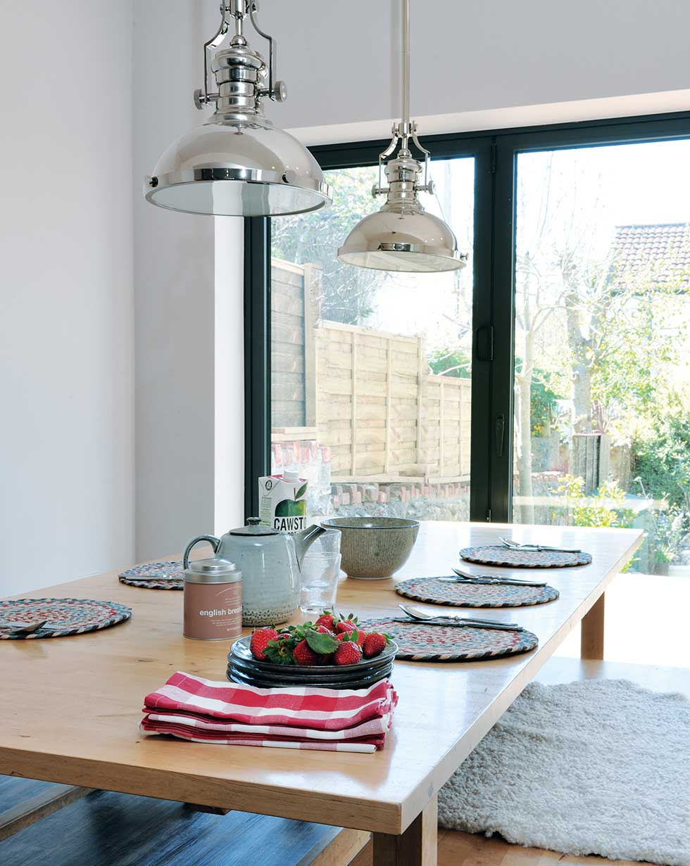 contemporary dining area in kitchen-diner extension