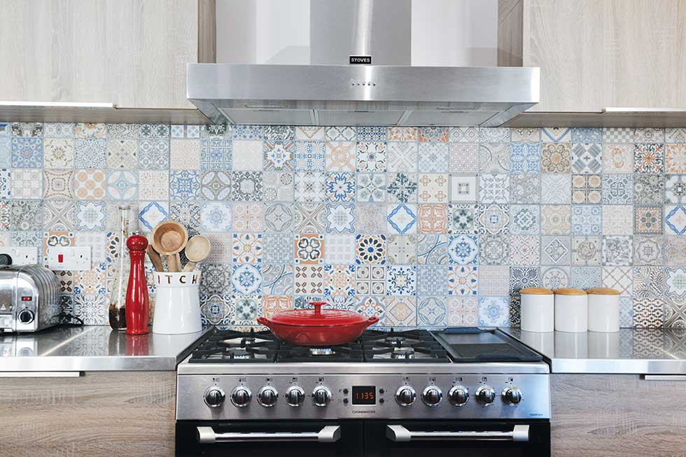 kitchen-diner extension moroccan tiles cooker extractor