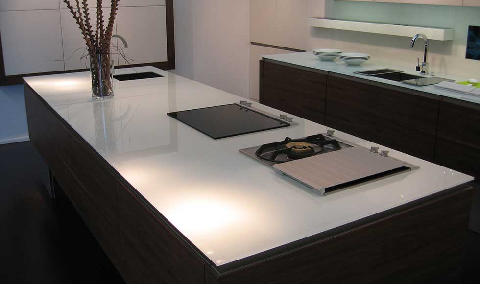 White Glass Worktops From Modern Glass