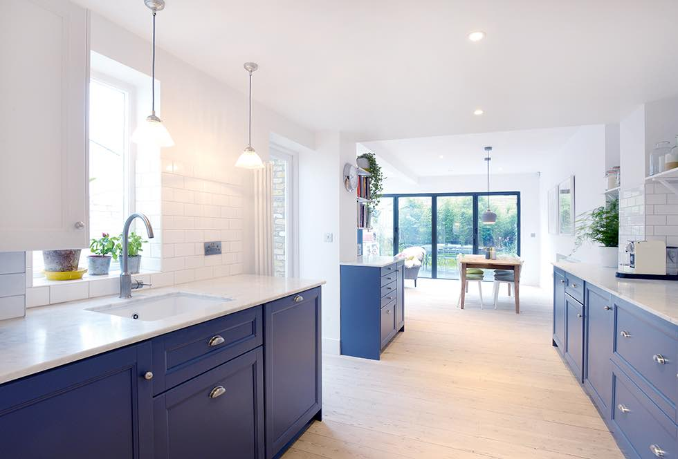 London flat extension blue open plan kitchen