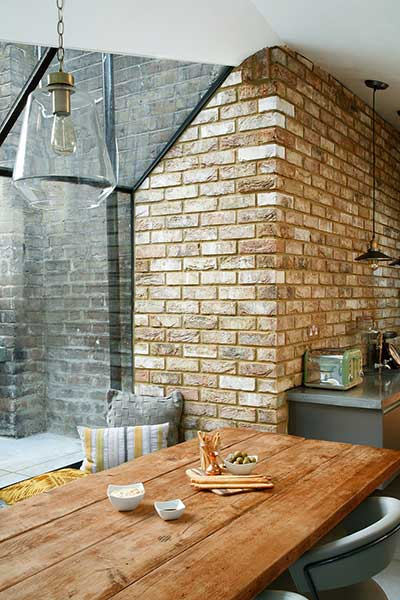 industrial glazed kitchen extension ceiling fold detail brick wall