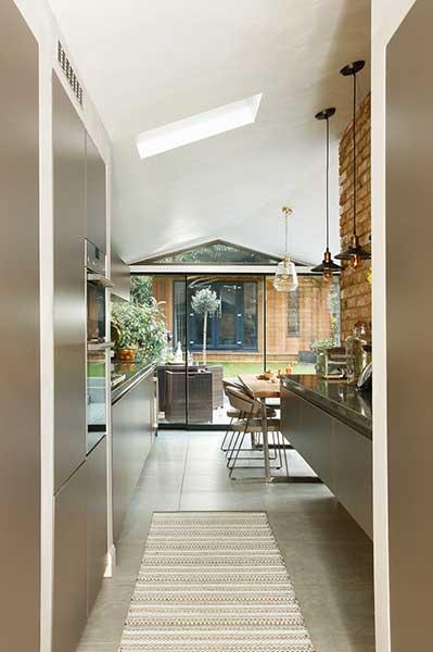 industrial glazed kitchen extension entrance lounge to kitchen