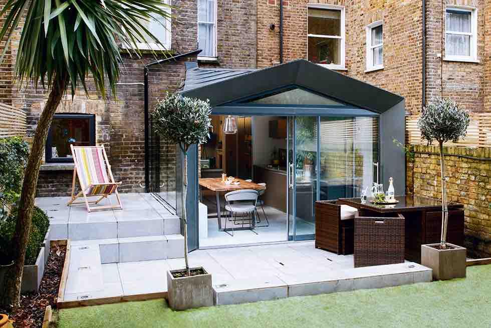 industrial glazed kitchen extension exterior zinc