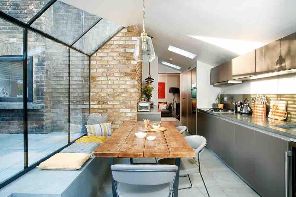 industrial glazed kitchen extension dining area interior
