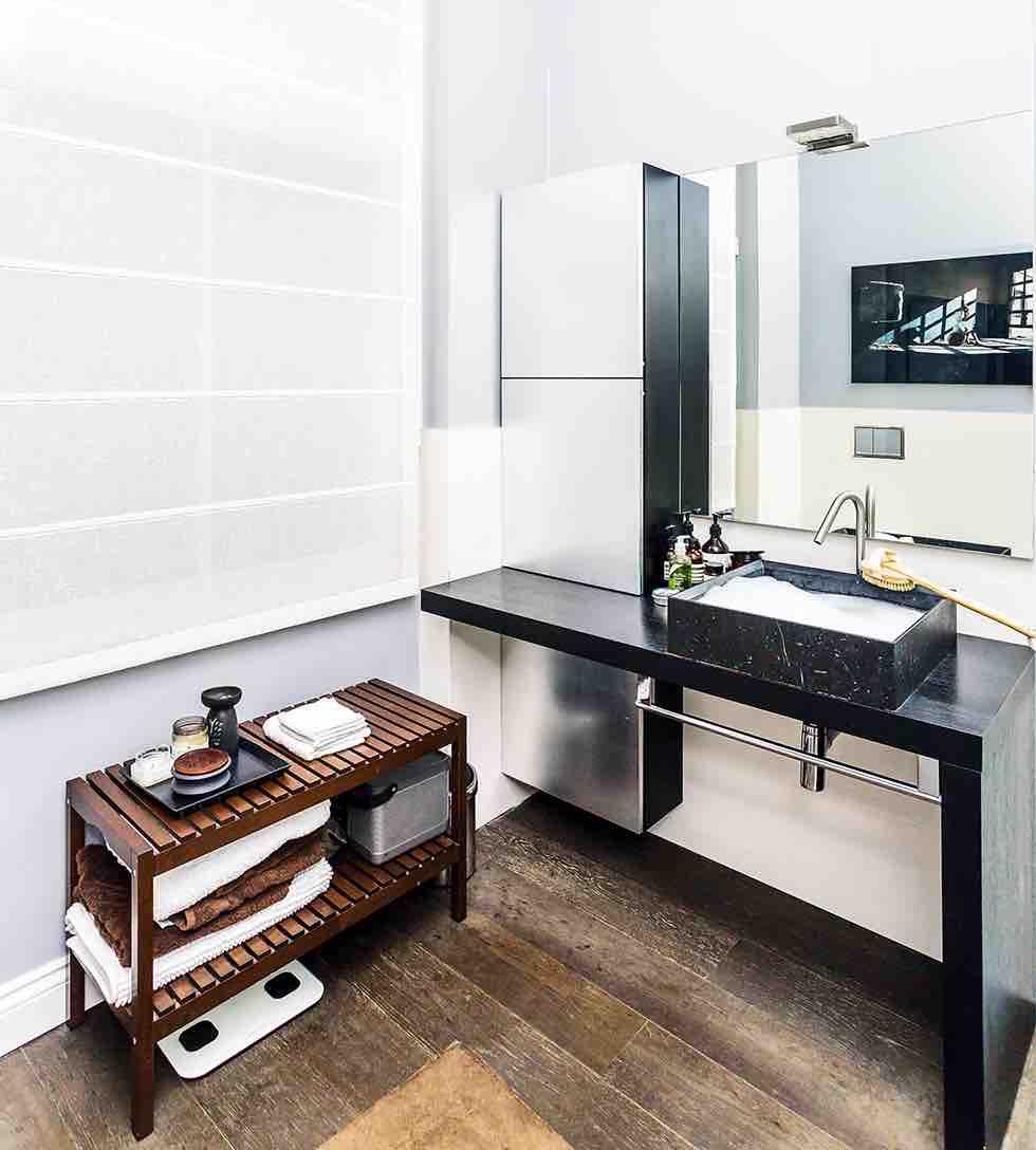 Small london flat bathroom sink storage