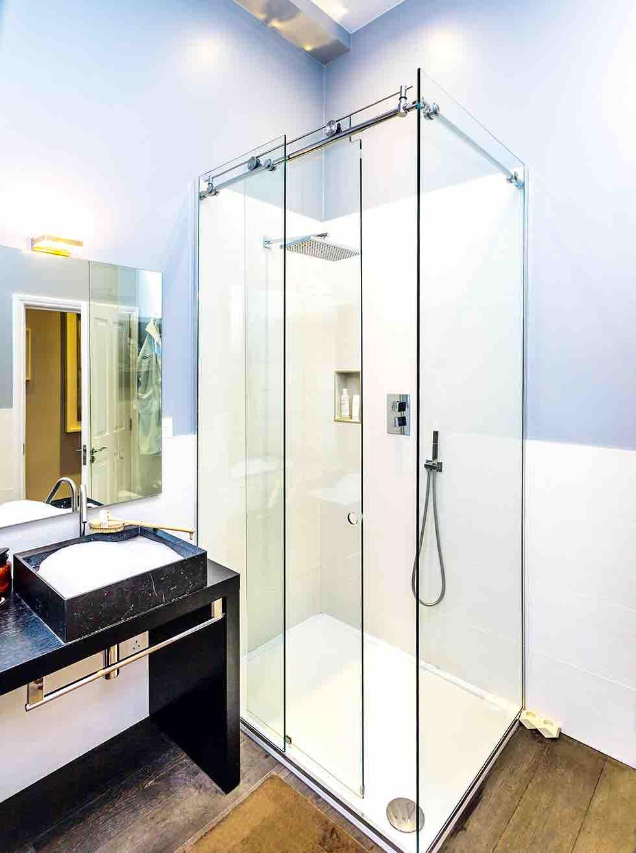 Small london flat bathroom shower enclosure
