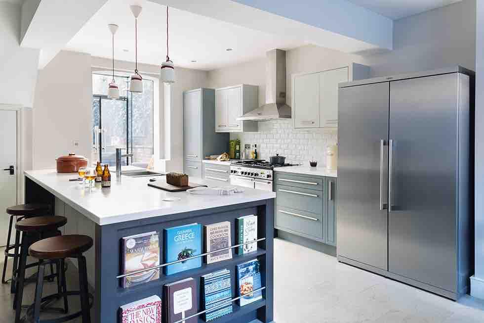 victorian terrace extension grey kitchen units metal fridge