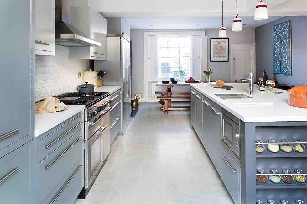 victorian terrace extension grey kitchen units