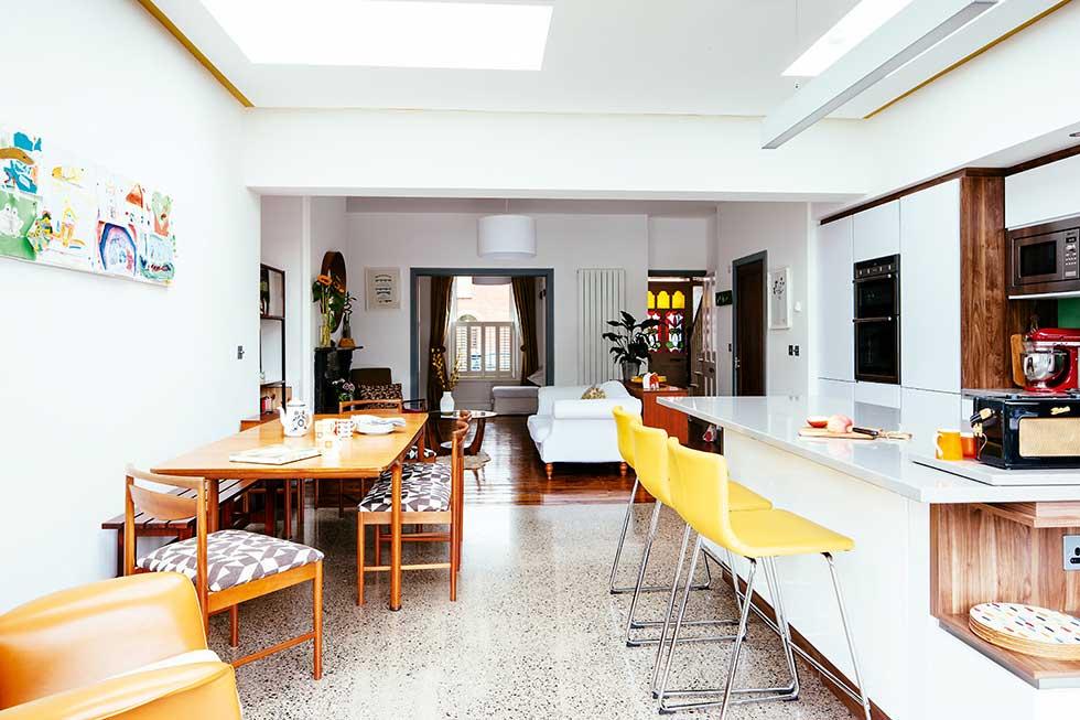 open plan kitchen diner in modern extension