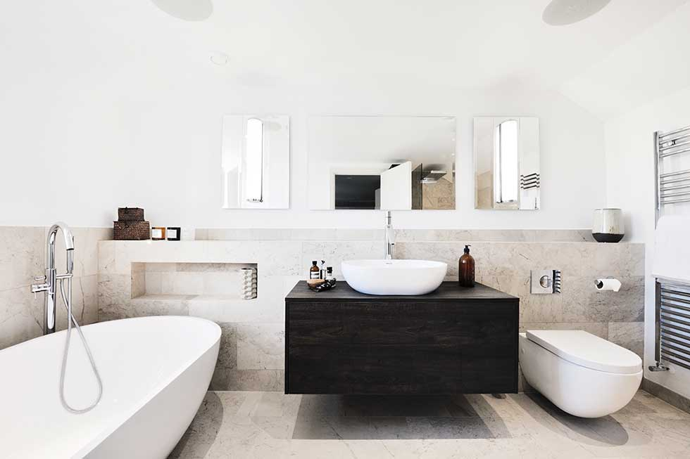 scandinavian style master bedroom en suite monochrome