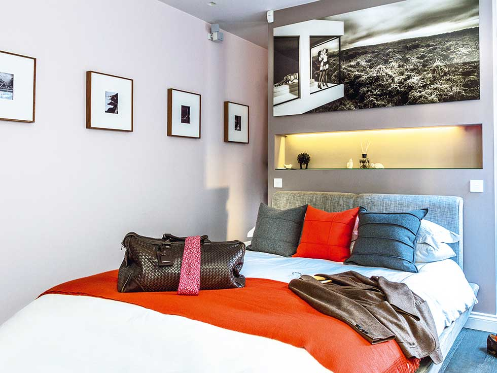 Small london flat colourful bedroom