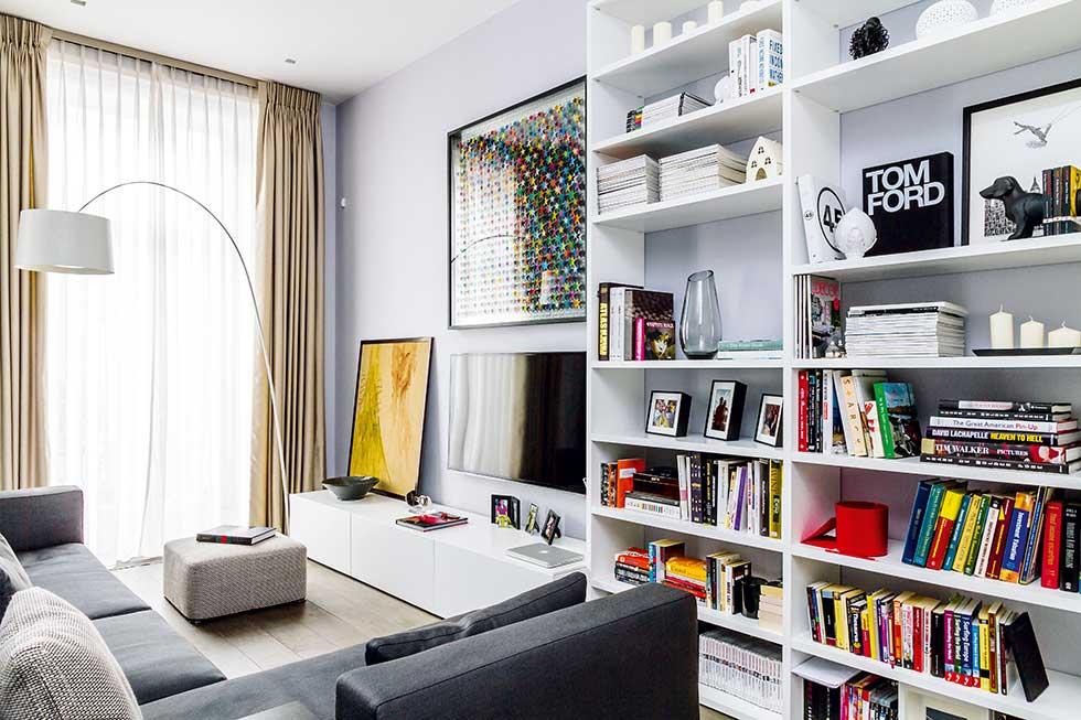 Small london flat living room sofas storage